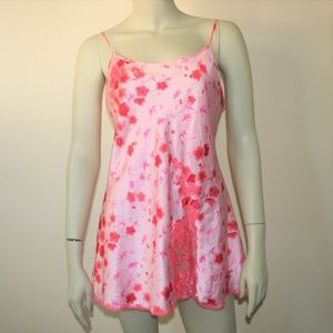Victorias Secret Pink Flower Silky Chemise Slip M